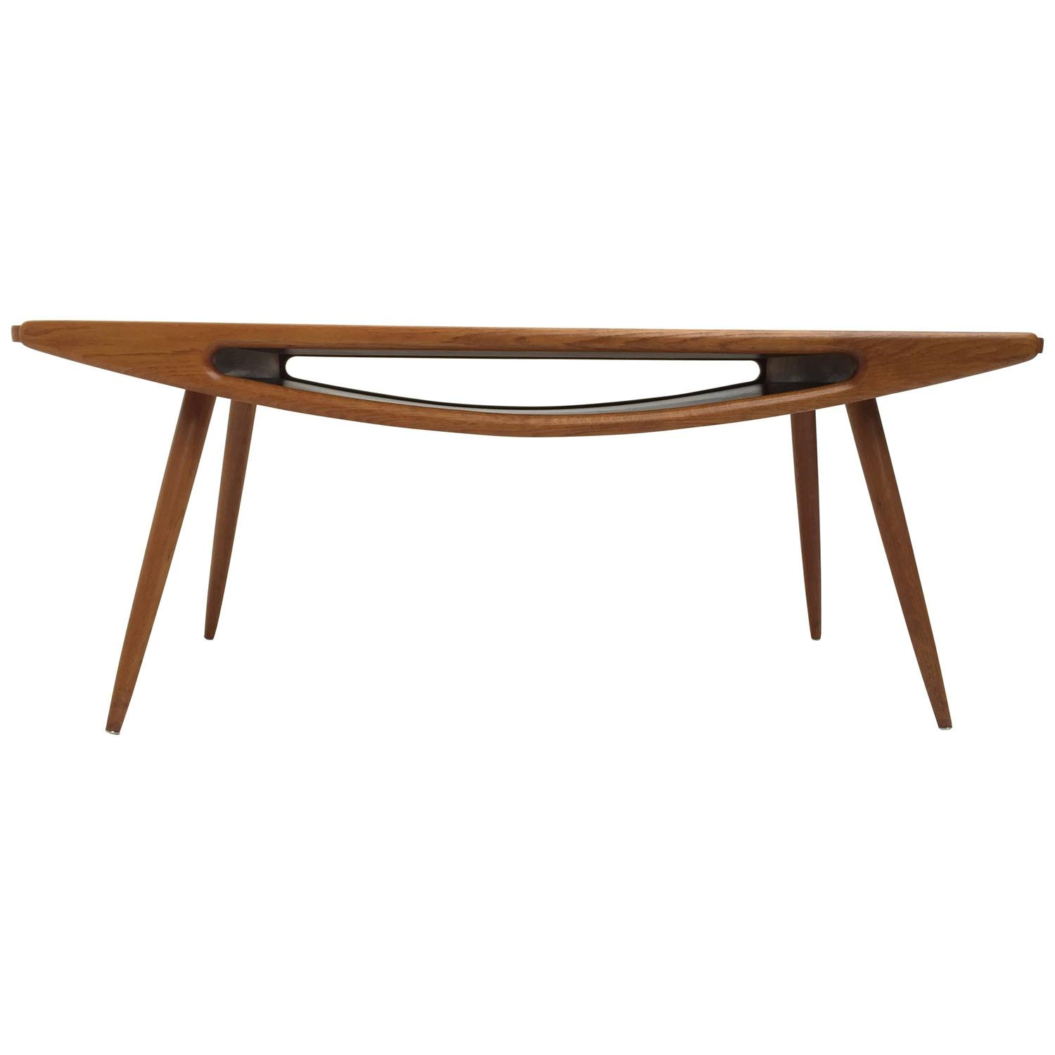 Danish Smiley Teak and Oak Coffee Table in the Style of Johannes