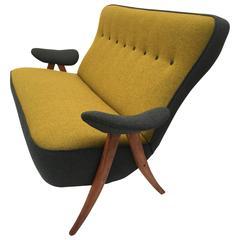 Stunning Theo Ruth Model 105 'Hair Pin' Sofa for Artifort with Kvadrat Wool