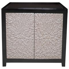 Leaf Design Small Cabinet, Cream Lacquer