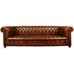 Tufted Leather Sofa with Nailhead Trim