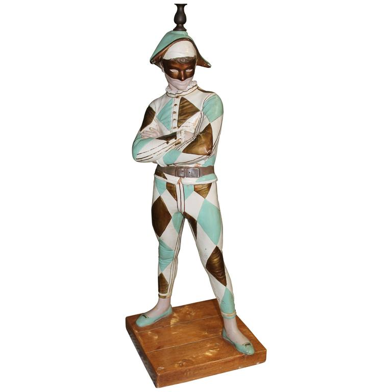 Vintage Harlequin Jester Table Lamp by Marbro in the Style of Saint-Marceaux