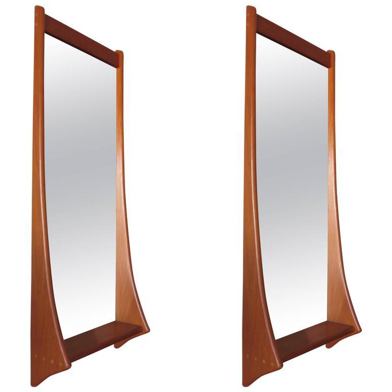 Pair of Sculptural Danish Mirrors by Pedersen and Hansen, 1960s