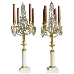 Pair of Continental Crystal and Marble Candelabra