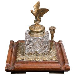 Antique English 1880 Ornate Inkwell with Large Brass Eagle Top