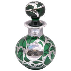 1890 English Antique Sterling Silver Overlay Emerald Perfume Bottle