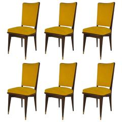 Set of six 1940s Upholstered Ebonized Side Chairs, Attributed to Jansen