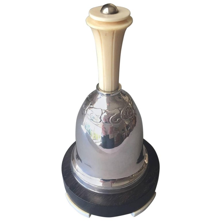 Evald Nielsen 830 Silver Art Deco Table Bell For Sale