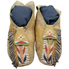 American Indian Beaded Moccasins, Apache, Late 19th Century