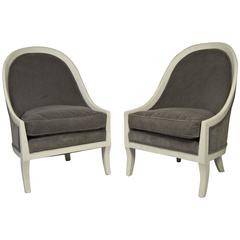 Pair of Regency Style Gondola Back Upholstered Chairs