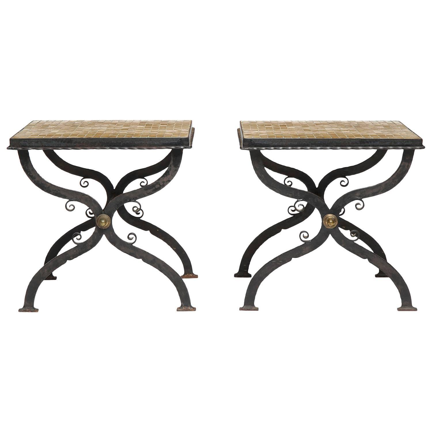 Pair of tile inlaid wrought iron x base side tables at 1stdibs for Wrought iron side table base