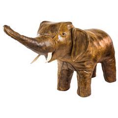 Italian Leather Elephant Footstool