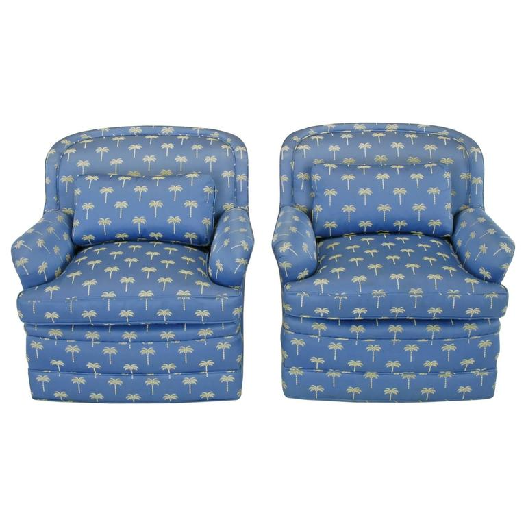 Pair of 1940s Cerulean Blue Swivel Lounge Chairs For Sale