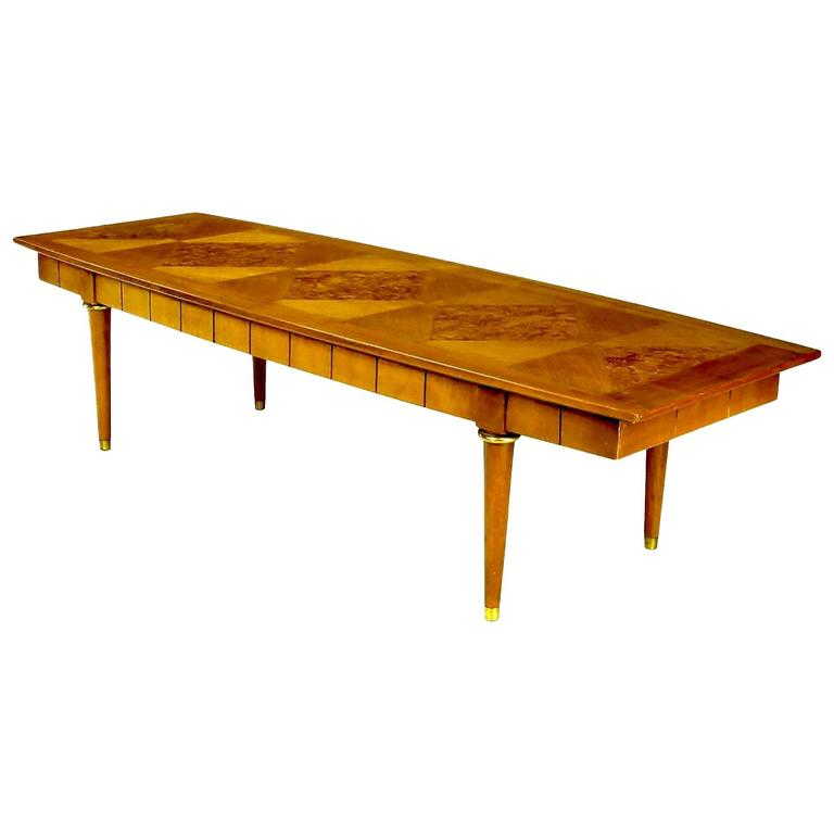 Oxford-Kent Long Walnut Coffee Table with Burled Parquetry Top