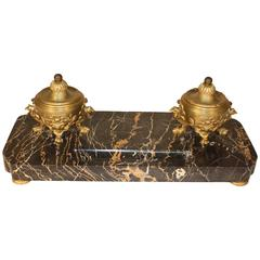 Napoleon III Marble and Bronze Inkwell