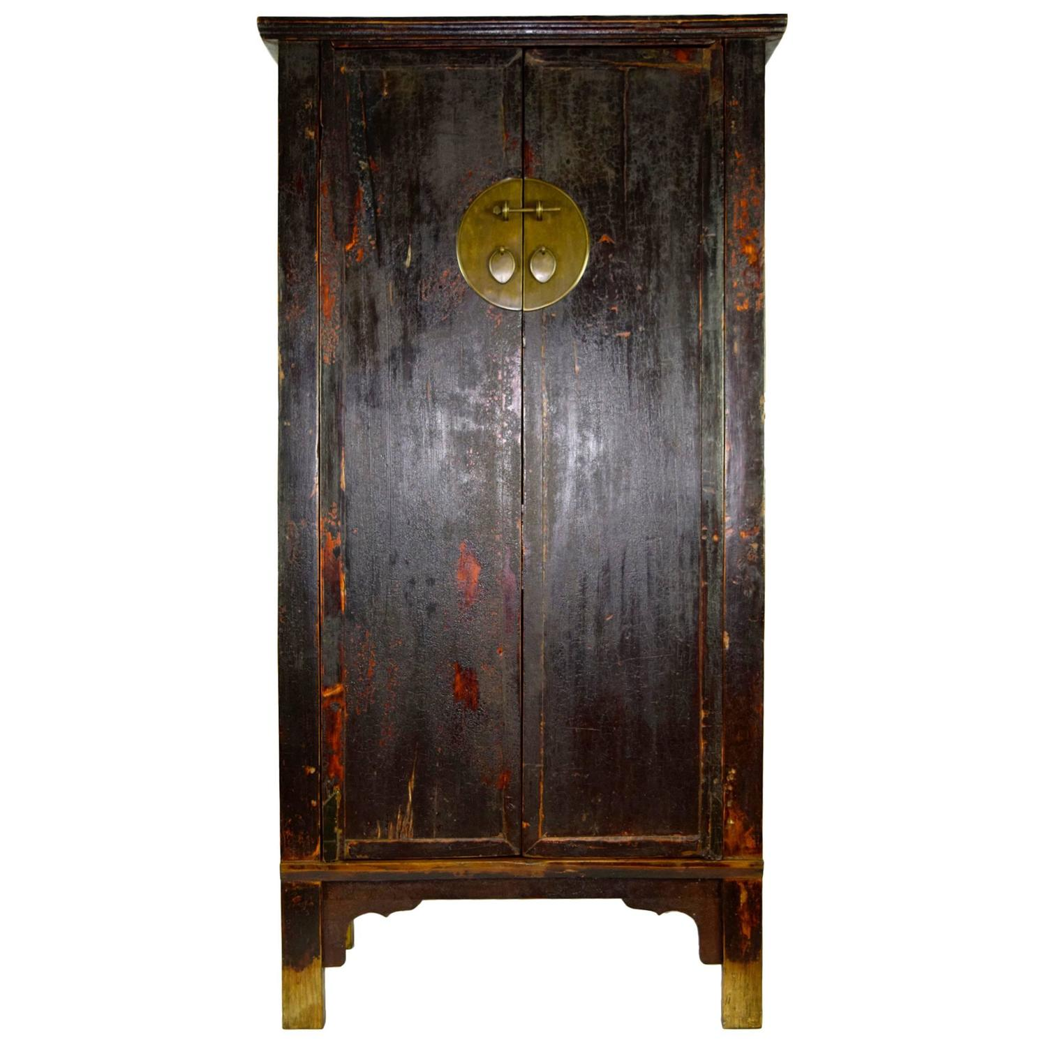 Antique black asian wedding cabinet with heavy patina for for Antique asian cabinet