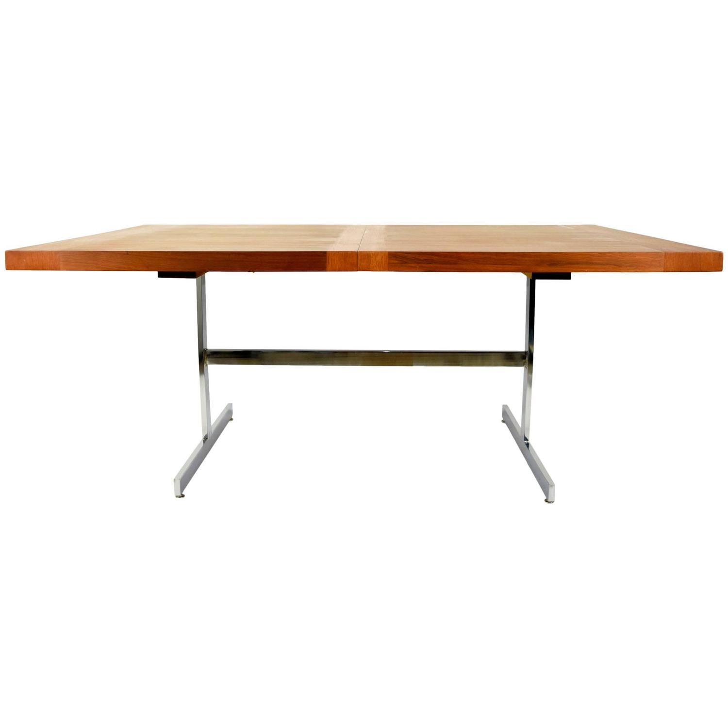 Milo Baughman Walnut Dining Table With Chrome Base At 1stdibs