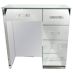 1940's Hollywood Mirrored Vanity with Lucite & Chrome Pulls