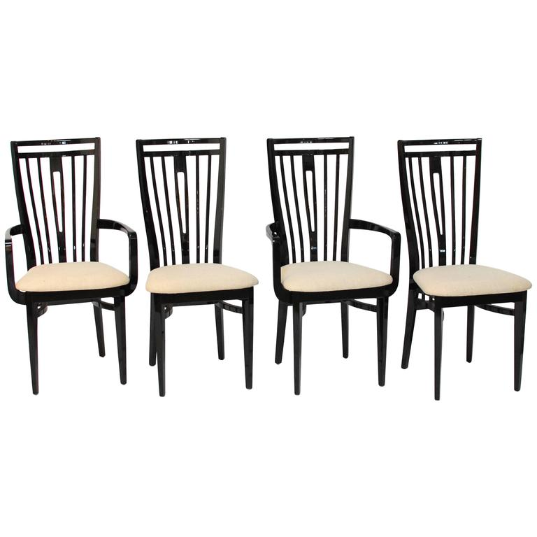 Black Lacquer Dining Room Chairs: Italian Black Lacquer Dining Chairs At 1stdibs