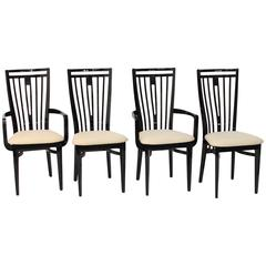 Italian Black Lacquer Dining Chairs
