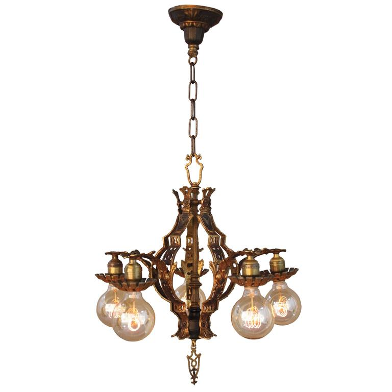 1920s spanish revival chandelier at 1stdibs for Spanish revival lighting fixtures