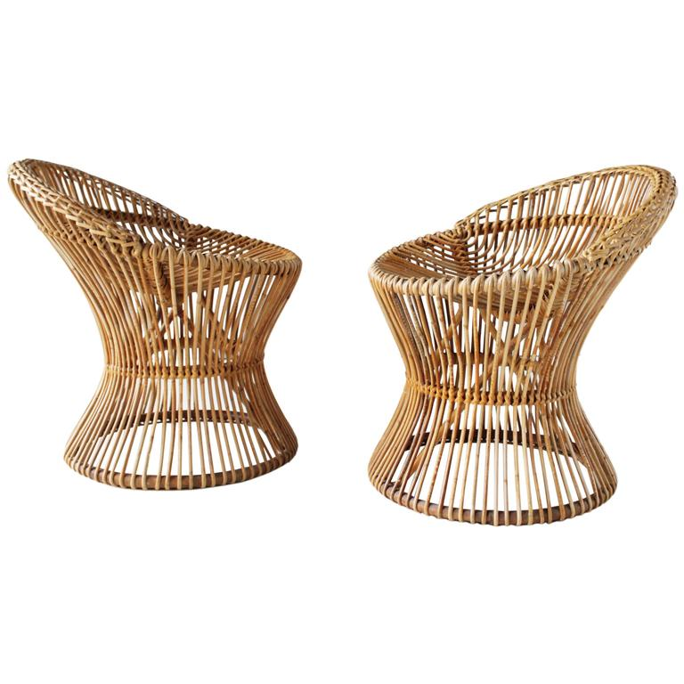 Pair of Rattan Italian Chairs Attributed to Franco Albini