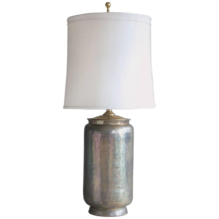 Large hammered brass table lamp at 1stdibs