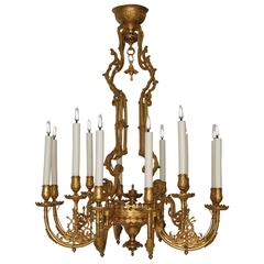 Japanese Influence, Gilded Bronze Chandelier