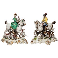 Exceptional Pair of Antique Meissen Porcelain Hunting Groups with Horses & Dogs