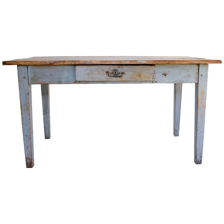 Rustic painted farm table or writing desk with drawer at for Rustic farm tables for sale