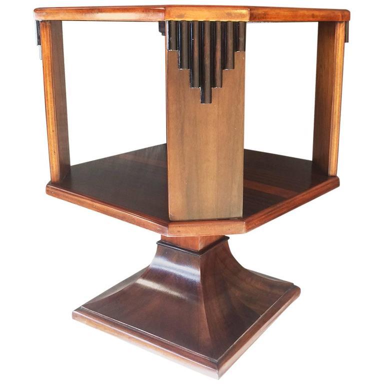 Art Deco English Small Table Top Revolving Bookcase 1