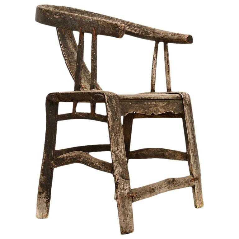 Antique Chinese Yoke Back Chair with Patinated Wood Horse Shoe Shape For Sale  sc 1 st  1stDibs & Antique Chinese Yoke Back Chair with Patinated Wood Horse Shoe ...