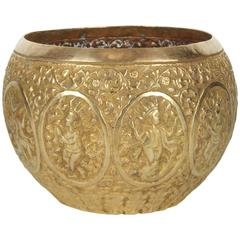 Polished Indo-Persian Brass Hand-Etched Jardiniere