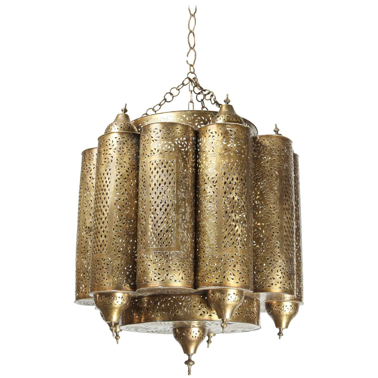 Brass moroccan mosque chandelier in the style of alberto pinto at brass moroccan mosque chandelier in the style of alberto pinto at 1stdibs arubaitofo Choice Image