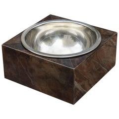 Aldo Tura Square Goatskin Fruit Bowl
