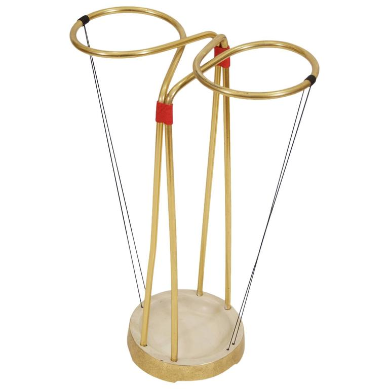 Gilt and Enameled Brass Cord-Wrapped Umbrella Stand 1