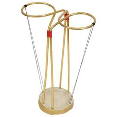 Gilt and Enameled Brass Cord-Wrapped Umbrella Stand