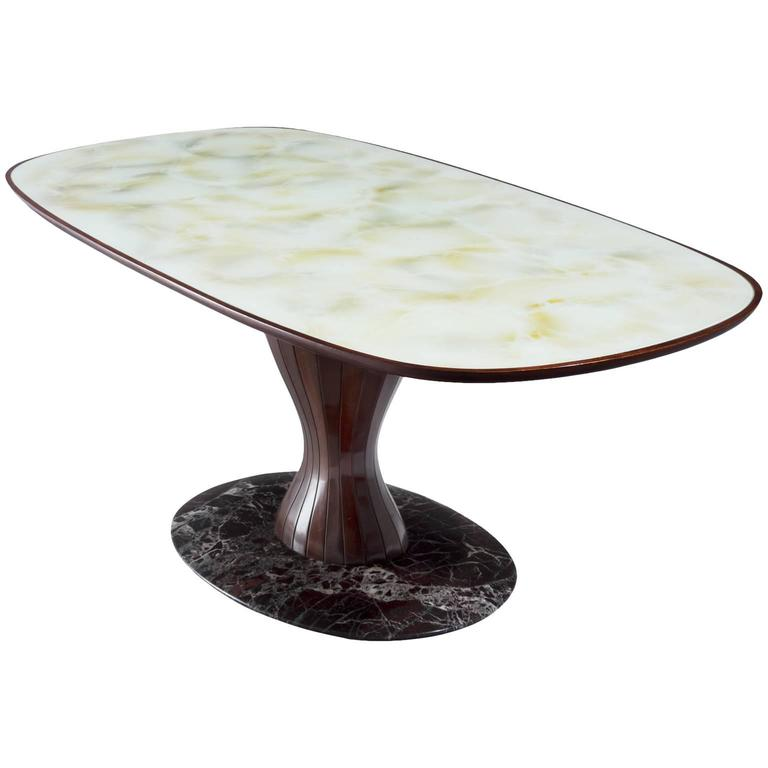 Italian Pedestal Dining Table in Wood, Marble and Glass