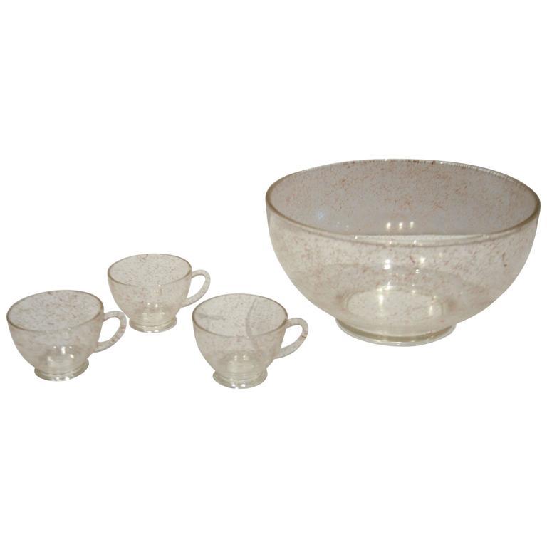 Twenty-Four Piece Pink Glass Punch Bowl Set