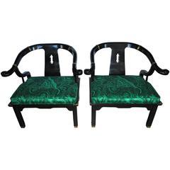 James Mont Style Malachite Lounge Chairs