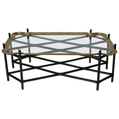 Faux Bamboo and Glass and Brass Tray Coffee Table