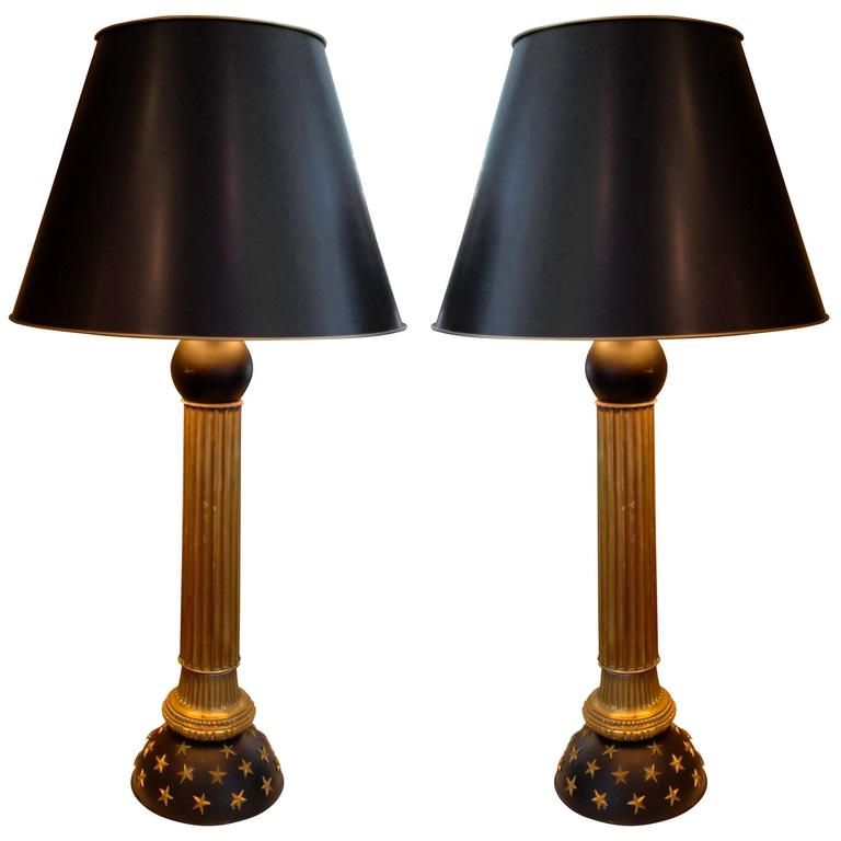 Pair of Mid-Century French Brass and Black Painted Column Lamps with Star Design