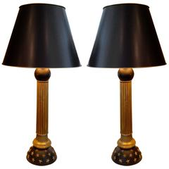 Pair of French Tole Column Lamps with Column, Ball and Star Design