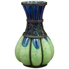 Iron Mounted Degue Glass Vase, circa 1900