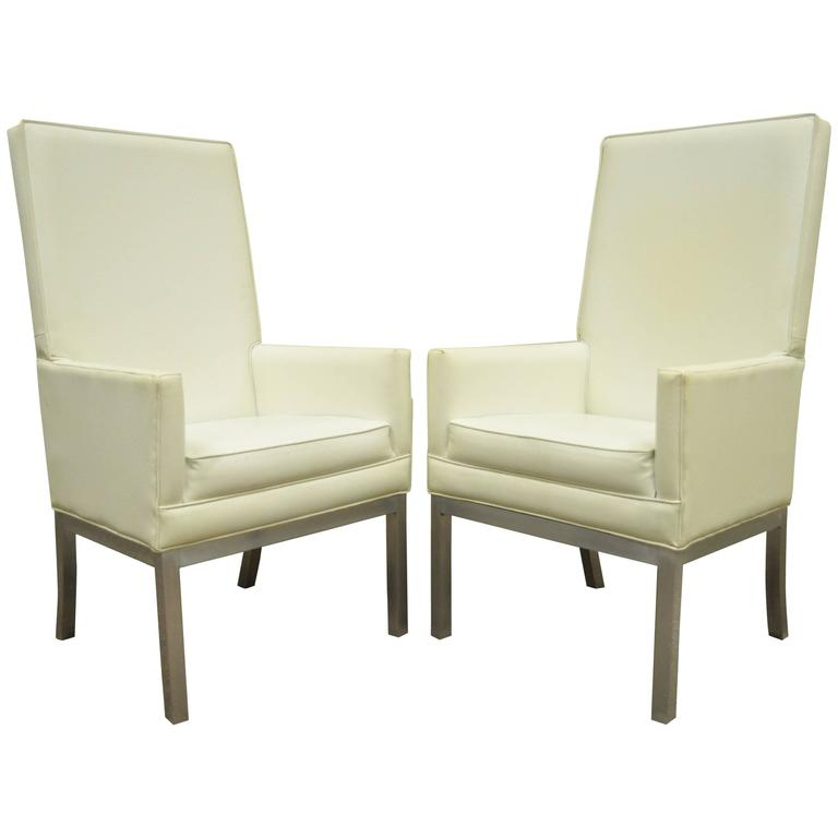 Pair of Mid Century Modern Brushed Aluminum Parsons Style Tall Back Armchairs