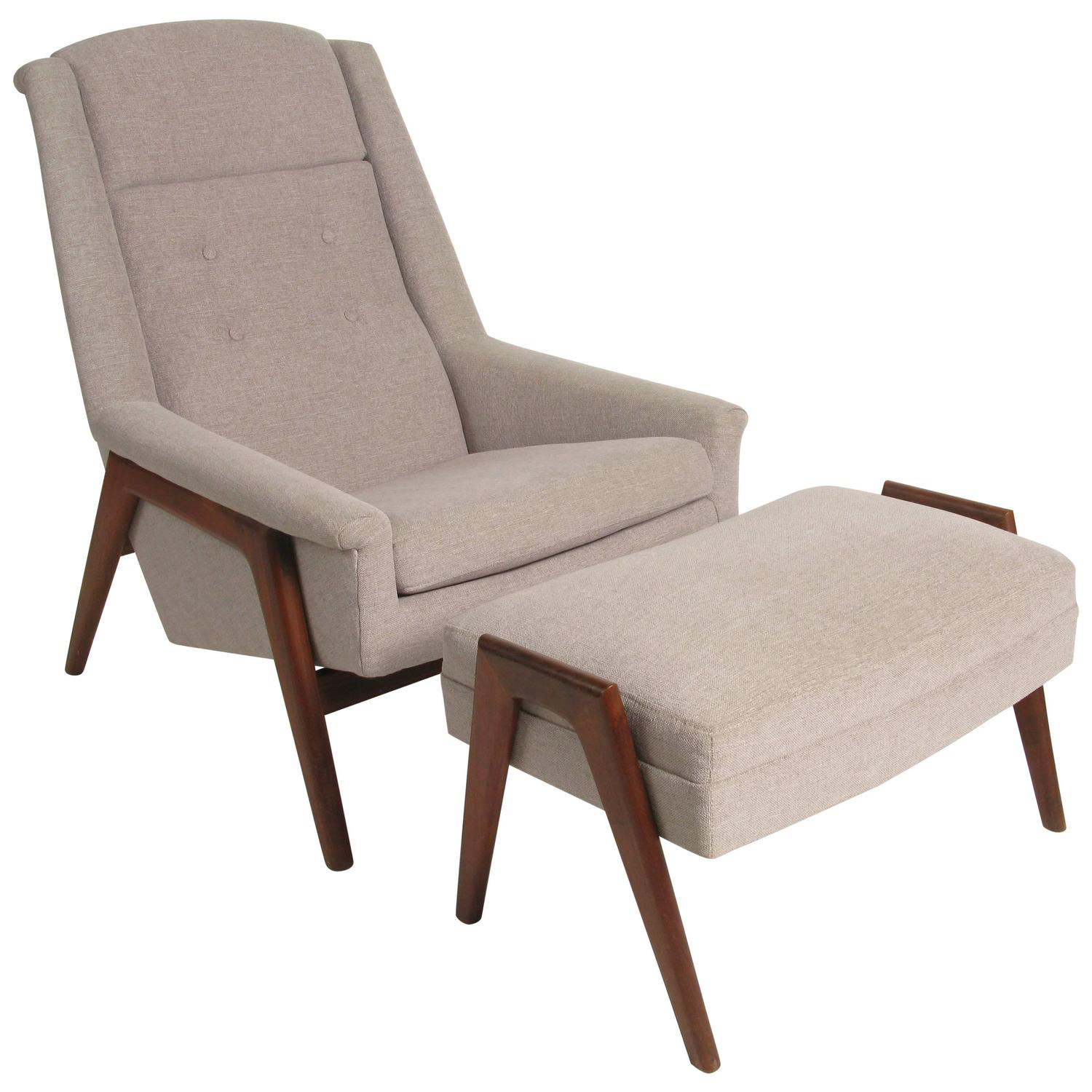 Lounge chair and ottoman by folke ohlsson for dux of sweden at 1stdibs