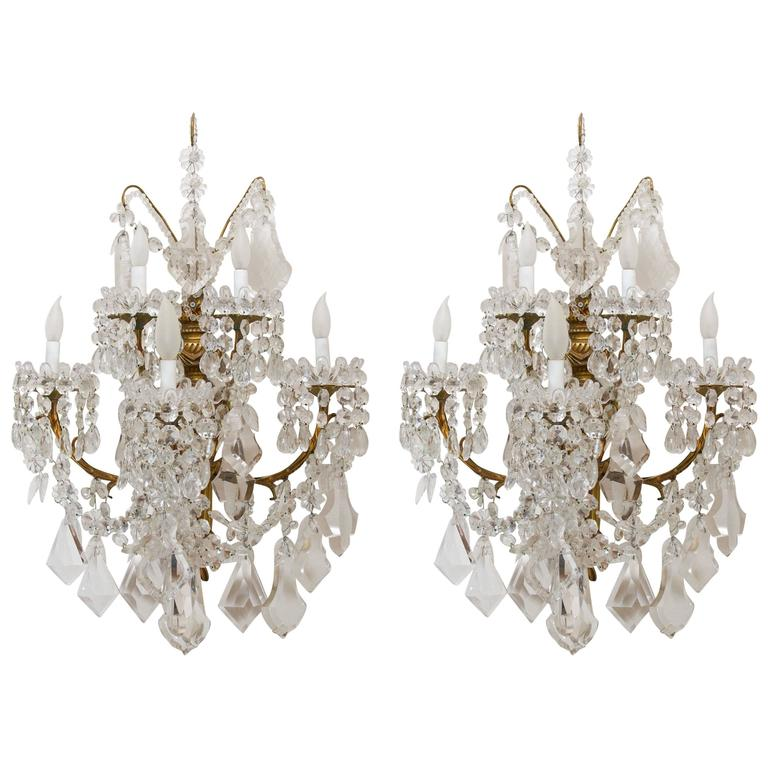 Stunning Pair of Neoclassical Sconces by Baccarat