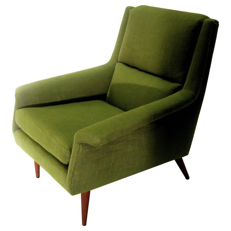 Ordinaire 1950s Danish Modern Dux Kelly Green Upholstered Lounge Chair For Sale