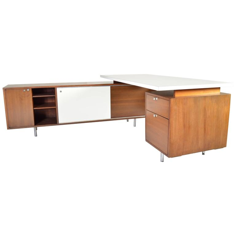 george nelson for herman miller lshaped executive desk with return 1