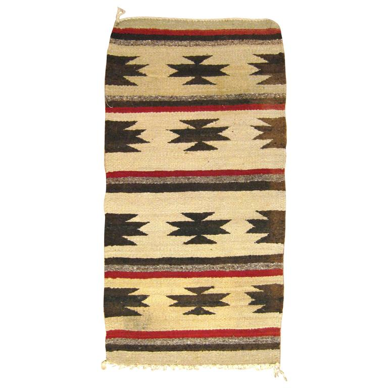 Vintage Mexican Zapotec Rug, In Small Size, With Stylized
