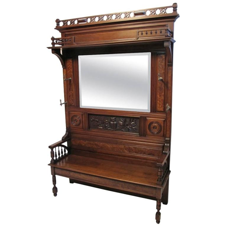 Large Victorian Walnut Hall Bench Coat Rack At 1stdibs